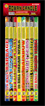 10 ball roman candle assorted tail effect